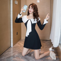 Dress Autumn 2020 black S,M,L,XL Short skirt other Long sleeves commute Doll Collar High waist Solid color zipper A-line skirt routine Others 18-24 years old Type A Korean version Splicing Eight point one
