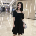 Dress Summer of 2018 Hepburn black S,M,L,XL,2XL Miniskirt singleton  Short sleeve commute One word collar High waist Solid color zipper A-line skirt routine Others 18-24 years old Type A Korean version Open back, stitching six point three zero other polyester fiber