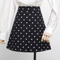 skirt Spring 2021 XS,S,M,L,XL Black, white Short skirt commute High waist A-line skirt Dot Type A 18-24 years old 31% (inclusive) - 50% (inclusive) brocade polyester fiber Korean version
