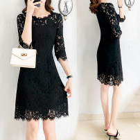 Dress Autumn of 2019 black S,M,L,XL,2XL,3XL Middle-skirt singleton  three quarter sleeve commute Crew neck middle-waisted Solid color zipper One pace skirt routine Others Type X Other / other Ol style Stitching, zipper, lace 81% (inclusive) - 90% (inclusive) Lace nylon