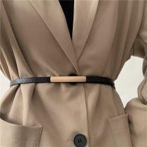 Belt / belt / chain Double skin leather Black, brown female belt Versatile Single loop Youth, youth Smooth button Geometric pattern soft surface 1.3cm alloy Liu Wuwei