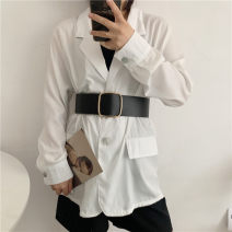 Belt / belt / chain Pu (artificial leather) Black, Khaki female belt Versatile Single loop Youth, youth Smooth button other soft surface 6.3cm alloy Liu Wuwei 6.3 leather no hole waist seal