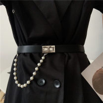 Belt / belt / chain Pu (artificial leather) Black, brown currency belt Versatile Single loop Youth, youth Smooth button Geometric pattern Glossy surface 2.3cm alloy Naked, chain Liu Wuwei Pearl chain revolving buckle belt