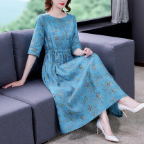 Dress Summer 2021 blue M L 3XL 2XL XL Mid length dress singleton  elbow sleeve commute Crew neck middle-waisted Decor Socket A-line skirt other Others 40-49 years old Type A Arteyes / Yiai Korean version printing YBHA82174 30% and below other hemp Flax 30% other 70% Pure e-commerce (online only)