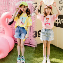 suit Keninke Pink, yellow, light blue, dark blue 110cm,120cm,130cm,140cm,150cm,160cm,165cm female spring Korean version Short sleeve + pants 2 pieces routine There are models in the real shooting Socket nothing head portrait other elder Expression of love Class B Cotton 90% other 10%