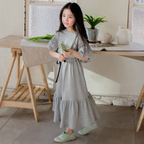 suit Keninke grey 100cm,110cm,120cm,130cm,140cm,150cm,160cm,165cm female summer Korean version Short sleeve + skirt 2 pieces routine There are models in the real shooting Socket Solid color Pure cotton (100% cotton content) children Expression of love Class B Cotton 100%