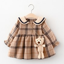 Dress female Keninke 73cm,80cm,90cm,100cm Cotton 90% other 10% spring and autumn princess Long sleeves lattice cotton other Class A 3 months, 12 months, 6 months, 9 months, 18 months, 2 years old, 3 years old