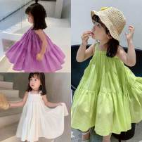 Dress White, light green, violet female Other / other No. 7 is suitable for 95-105cm, No. 9 is suitable for 105-110cm, No. 11 is suitable for 110-115cm, No. 13 is suitable for 115-120cm, No. 15 is suitable for 120-130cm, and 7-15 is a multiple of 5 Cotton 65% other 35% summer Korean version cotton
