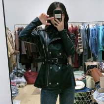 leather clothing Bouchang Street Autumn 2020 S,M,L black Medium length Long sleeves Self cultivation street Polo collar zipper routine PU pocket 18-24 years old 31% (inclusive) - 50% (inclusive) Wash skin