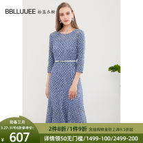 Dress Autumn of 2019 Blue 155/36/S 160/38/M 165/40/L 170/42/XL 175/44/XXL Mid length dress singleton  three quarter sleeve commute Crew neck High waist Solid color Socket A-line skirt routine Others 30-34 years old Type X Bblluuee / pink and blue wardrobe Simplicity Lace belt, hollow out 593L623.