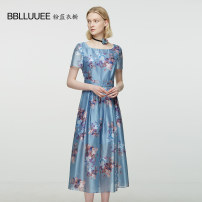 Dress Summer 2021 Cloud grey blue 155/36/S 160/38/M 165/40/L 170/42/XL 175/44/XXL Mid length dress singleton  Short sleeve commute square neck High waist Decor Socket A-line skirt routine Others 35-39 years old Type X Bblluuee / pink and blue wardrobe lady Printed Necklace 902L252 More than 95%