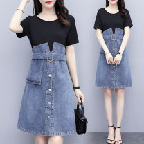 Women's large Summer 2020 Dress Fake two pieces commute Self cultivation moderate Socket Short sleeve court Crew neck Medium length Denim Three dimensional cutting routine Three dimensional decoration 91% (inclusive) - 95% (inclusive) Middle-skirt Ruffle Skirt straps