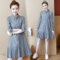 Women's large Spring 2021, autumn 2021 grey Dress singleton  commute Straight cylinder moderate Cardigan Long sleeves Stripes, other Ol style other Medium length Cotton, others fold routine Button 51% (inclusive) - 70% (inclusive) longuette Pleated skirt