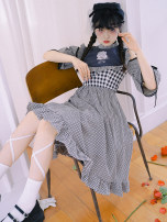 Dress Summer 2020 Blue check, black and white check S,M,L Middle-skirt Type X cotton