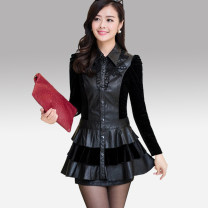 Dress Autumn of 2018 black Middle-skirt singleton  Long sleeves commute Polo collar middle-waisted Single breasted Cake skirt routine Others Type A Other / other Korean version Pleats, buttons 51% (inclusive) - 70% (inclusive) other PU