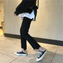 Women's large Spring 2021, autumn 2021 Big L, big XL, big XXL, big XXXL, big XXXXL, big M Jeans commute Straight cylinder moderate Solid color Korean version Denim Three dimensional cutting Yao Yi 18-24 years old Asymmetry Ninth pants tassels 121g / m ^ 2 (including) - 140g / m ^ 2 (including)