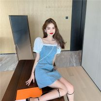 Dress Summer 2021 Blue (can be worn twice) S,M,L Short skirt singleton  Short sleeve commute One word collar Solid color zipper A-line skirt puff sleeve 18-24 years old Type A Korean version zipper 31% (inclusive) - 50% (inclusive) other