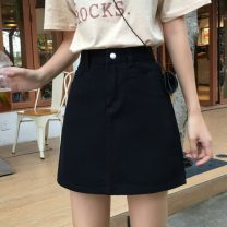 skirt Summer 2020 S,M,L,XL White, black Short skirt commute High waist A-line skirt Solid color 18-24 years old 71% (inclusive) - 80% (inclusive) Denim cotton