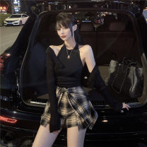 Fashion suit Summer 2020 Average size Black vest, plaid skirt, white vest, plaid skirt, black cardigan, white cardigan 18-25 years old 31% (inclusive) - 50% (inclusive) polyester fiber