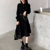 Dress Spring 2021 black S,M,L longuette singleton  Long sleeves commute Polo collar High waist Solid color Single breasted Ruffle Skirt routine Breast wrapping 18-24 years old Type A Other / other Korean version Button 51% (inclusive) - 70% (inclusive) other other