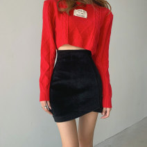 skirt Winter 2020 S,M,L Blue, black, apricot white Short skirt commute High waist Irregular Solid color Type A 18-24 years old 51% (inclusive) - 70% (inclusive) Wool Other / other Asymmetric, zipper Korean version