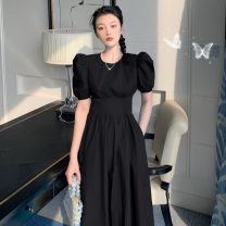 Dress Summer 2021 Black, light water blue S,M,L longuette singleton  Short sleeve commute Crew neck High waist Solid color Socket A-line skirt puff sleeve Others 18-24 years old Type A Korean version 31% (inclusive) - 50% (inclusive) polyester fiber