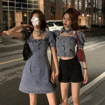 Dress Spring 2021 Top denim skirt S M L Short skirt singleton  Short sleeve commute square neck High waist Solid color Socket A-line skirt puff sleeve 18-24 years old Type A Xianweiya Korean version Lace up stitching 8bLdwc More than 95% other polyester fiber 100.00% polyester