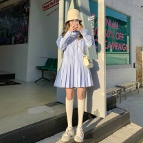 Dress Spring 2021 Average size Middle-skirt singleton  Long sleeves Sweet Polo collar Loose waist lattice Single breasted Pleated skirt shirt sleeve Others 18-24 years old Type H Xianweiya 81% (inclusive) - 90% (inclusive) other polyester fiber college Pure e-commerce (online only)