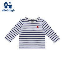 T-shirt Blue / bl allo&lugh 90 100 110 120 male spring and autumn Long sleeves Crew neck leisure time No model nothing Pure cotton (100% cotton content) stripe Cotton 100% A16B2TS112 Class A Sweat absorption Spring 2016