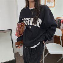 Sweater / sweater Winter 2020 Gray, white, black S,M,L,XL,2XL Long sleeves Medium length Socket singleton  Plush Crew neck easy commute letter 18-24 years old 30% and below Korean version