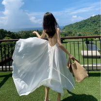 Dress Spring 2020 White, white S,M,L,XL longuette singleton  Sleeveless Sweet V-neck High waist Solid color Socket Irregular skirt camisole 18-24 years old Backless, asymmetrical, strapping