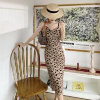 Dress Autumn 2020 S,M,L Mid length dress singleton  Sleeveless commute V-neck High waist Leopard Print A-line skirt 18-24 years old Type A Retro