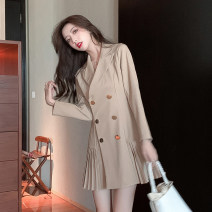 Dress Spring 2021 Khaki, black S,M,L,XL Short skirt singleton  Long sleeves commute tailored collar High waist Solid color double-breasted Pleated skirt routine Others 18-24 years old Type A Korean version Button