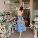 Dress Summer 2020 Malachite blue S,M,L,XL longuette singleton  Sleeveless Sweet V-neck High waist Decor A-line skirt camisole 18-24 years old Type A Bohemia