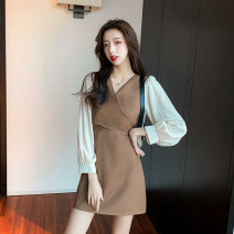 Dress Autumn 2020 Black, milk tea card, black ordinary edition, milk tea card ordinary Edition S,M,L,XL Short skirt Fake two pieces Long sleeves commute V-neck High waist Solid color Socket A-line skirt bishop sleeve 18-24 years old Type A Korean version 30% and below