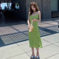Dress Spring 2021 Picture color S,M,L,XL Mid length dress singleton  Sleeveless Sweet V-neck High waist Broken flowers A-line skirt camisole 18-24 years old Type A Bohemia