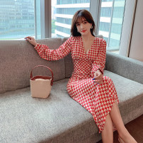 Dress Autumn 2020 Picture color S,M,L,XL Mid length dress singleton  Long sleeves commute V-neck High waist lattice A-line skirt 18-24 years old Type A Retro