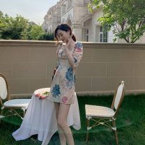 Dress Summer 2020 Picture color S,M,L,XL Short skirt singleton  elbow sleeve commute square neck High waist A-line skirt 18-24 years old Type A Retro