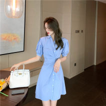 Dress Summer 2021 blue S,M,L Short skirt singleton  Short sleeve commute Polo collar middle-waisted Solid color Single row two buttons One pace skirt routine Others 25-29 years old Type A Korean version 31% (inclusive) - 50% (inclusive)