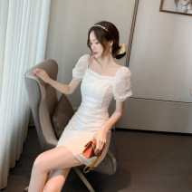 Dress Summer 2020 white S,M,L Short skirt singleton  Short sleeve commute square neck High waist Solid color A-line skirt puff sleeve 18-24 years old Type A Retro