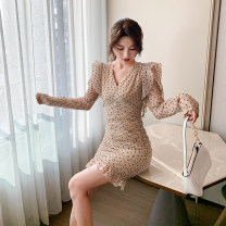 Dress Spring 2021 Picture color S,M,L,XL Short skirt singleton  Long sleeves commute V-neck High waist Dot A-line skirt 18-24 years old Type A Retro