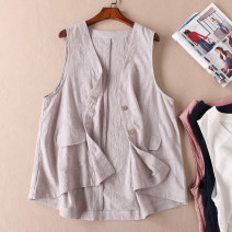 Vest Summer of 2019 White, light gray, leather powder, navy Average size routine V-neck commute Solid color Single breasted Other / other 51% (inclusive) - 70% (inclusive) cotton