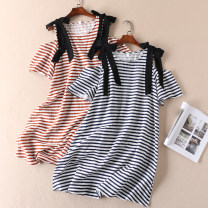 Dress Summer 2020 Red stripe, yellow stripe, blue stripe Average size Middle-skirt singleton  Short sleeve commute Crew neck Loose waist stripe Socket A-line skirt other Others Type A Other / other literature Frenulum 51% (inclusive) - 70% (inclusive) other cotton