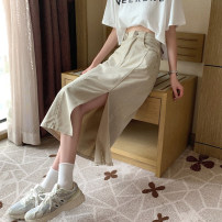 skirt Summer 2021 S,M,L,XL Apricot, grey Short skirt commute High waist A-line skirt Solid color Type A 18-24 years old 30% and below other other Asymmetry Korean version