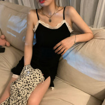 Dress Spring 2021 Sling piece, leopard shirt piece Average size Short skirt singleton  Sleeveless commute High waist other A-line skirt camisole 18-24 years old Type A Korean version