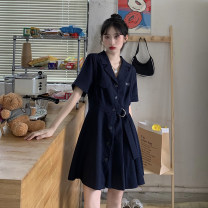 Dress Spring 2021 Gray, blue Average size Short skirt singleton  Short sleeve commute other High waist Solid color other A-line skirt routine Others 18-24 years old Type A Korean version