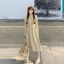 Dress Spring 2021 Black, gray, khaki, coffee, cream Average size Mid length dress singleton  Long sleeves commute Crew neck High waist Solid color A-line skirt other Others 18-24 years old Type A Korean version 31% (inclusive) - 50% (inclusive) other