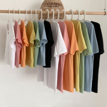 T-shirt Short, long Summer 2021 Short sleeve Crew neck easy have cash less than that is registered in the accounts routine commute other 30% and below 18-24 years old Korean version youth Solid color