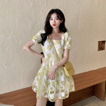 Dress Summer 2021 Yellow flower S, M Short skirt singleton  Short sleeve commute square neck High waist Broken flowers Socket A-line skirt puff sleeve Others 18-24 years old Type A Korean version