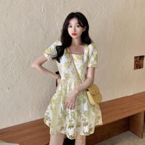 Dress Summer 2021 Yellow flower S, M Short skirt singleton  Short sleeve commute square neck High waist Broken flowers Socket A-line skirt puff sleeve Others 18-24 years old Type A Korean version